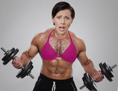 Woman building too much muscle
