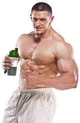Bodybuilder drinking Creatine Shake