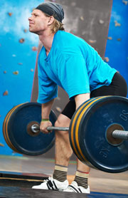 Competition Weight Lifter doing the Deadlift