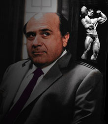 Danny Devito Imagining himself to be Arnold Shwarzenegger