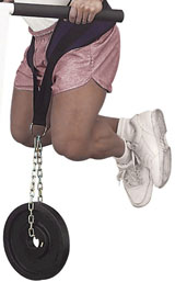 Trainer doing Bar Dips with a Dip Belt