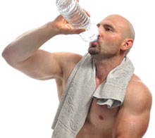 Weight Lifter drinking Water