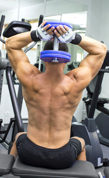 Grip for Dumbbell Triceps Extensions