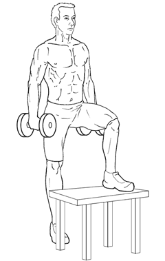 Dumbbell Step-Ups - Bottom of Exercise