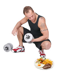 Lifting Weights with a plate of food
