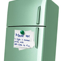 Refridgerator with posted meal plans