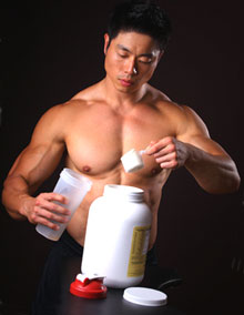 Trainer Mixing Up a Post-Workout Shake
