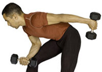 Man Demonstrating Standing Triceps Kickbacks