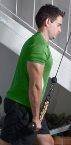 Triceps Pushdowns - One-Leg in Front Stance